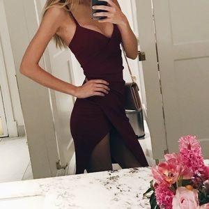 Dark red bodycon midi dress